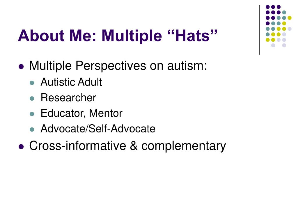 "About Me: Multiple ""Hats"""