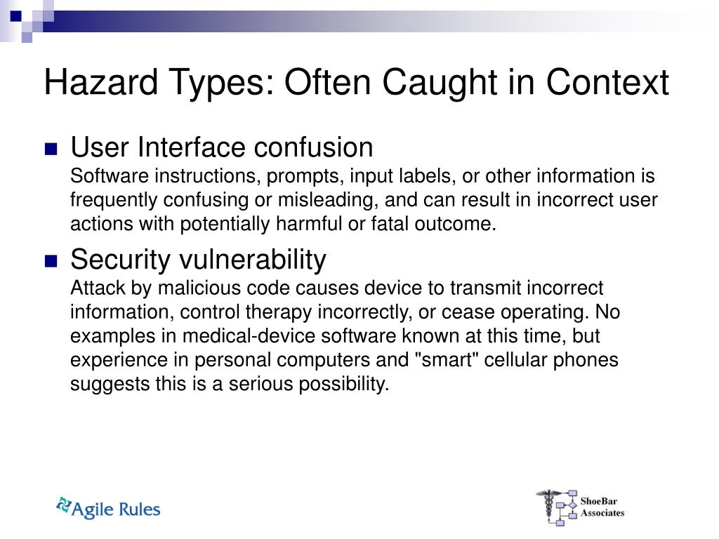 Hazard Types: Often Caught in Context