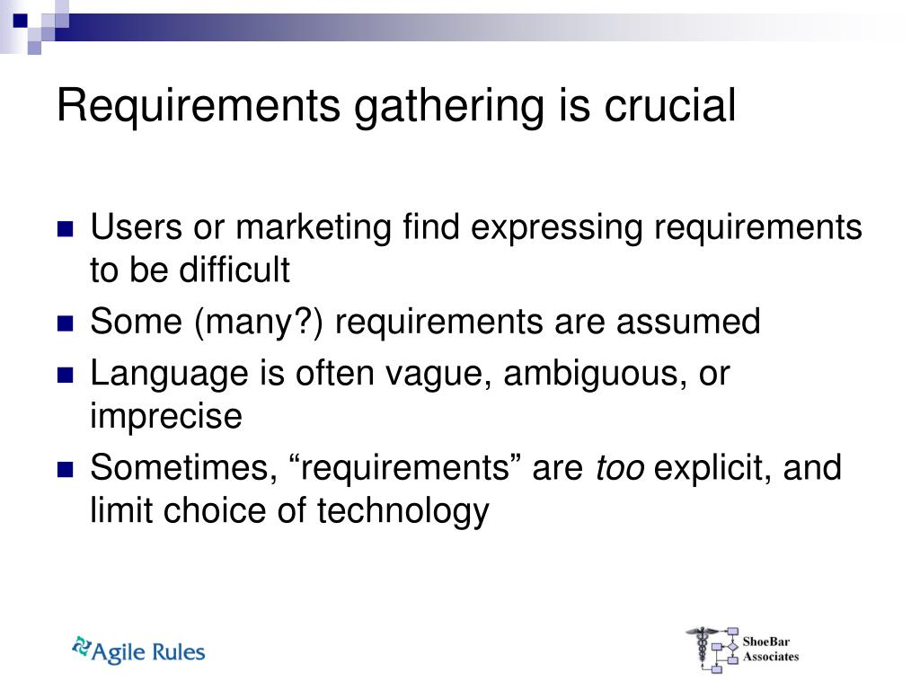 Requirements gathering is crucial