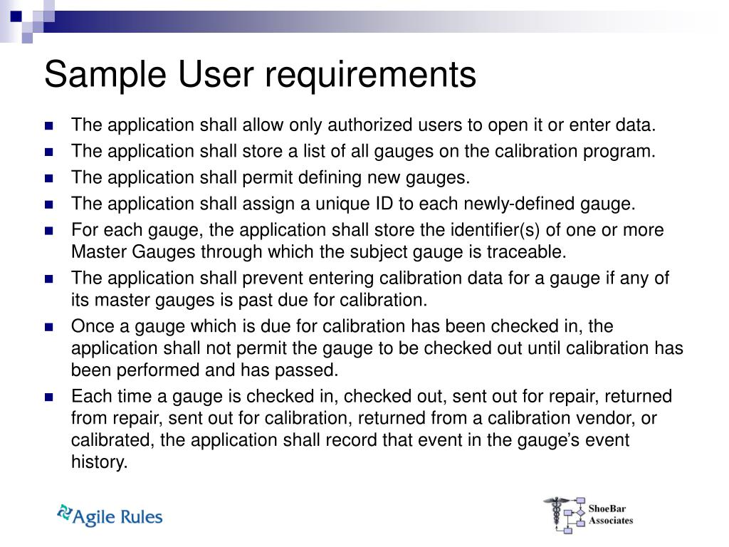 Sample User requirements