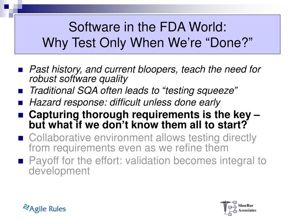 Software in the FDA World: