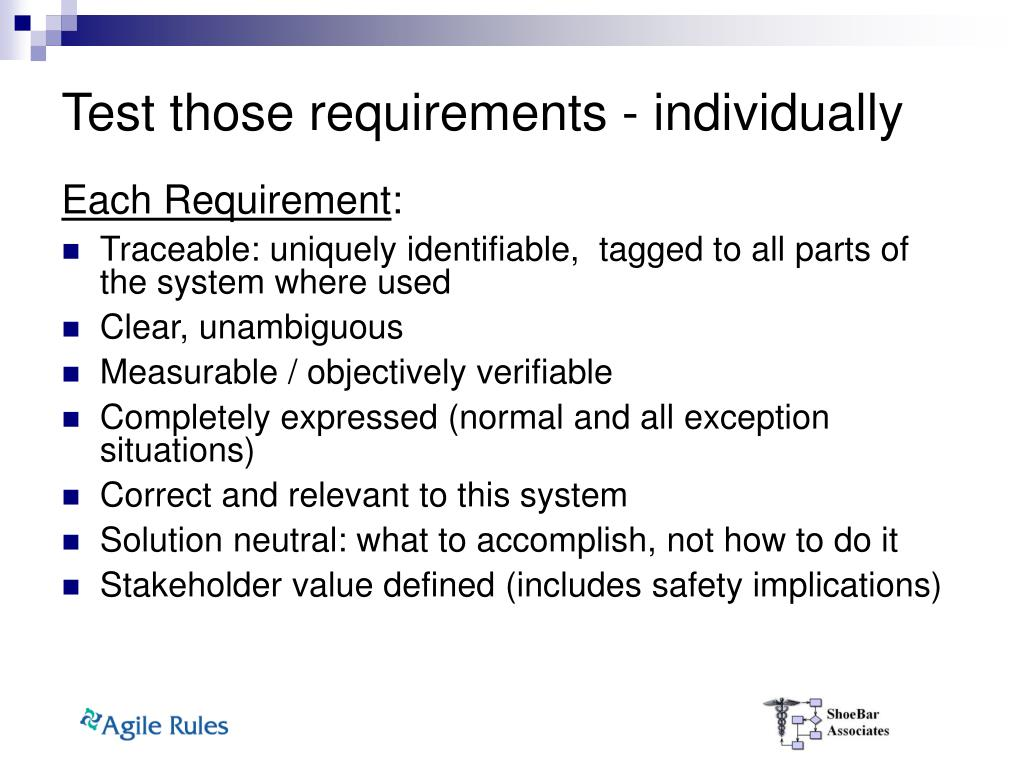 Test those requirements - individually