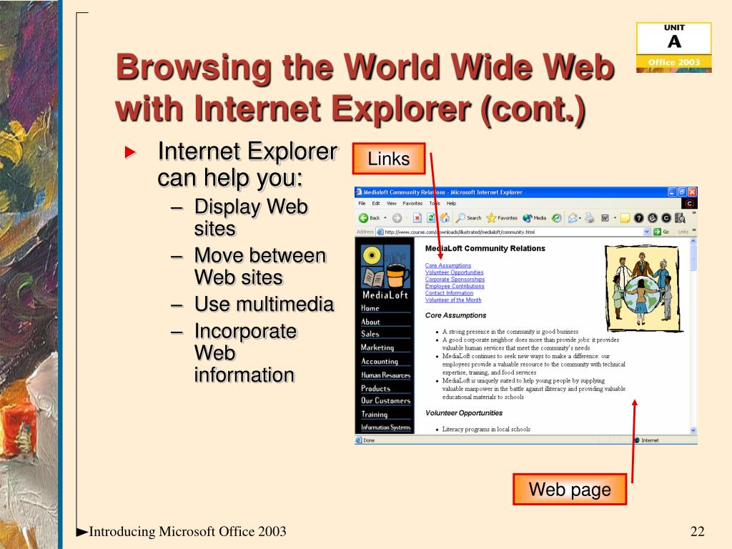 Browsing the World Wide Web with Internet Explorer (cont.)