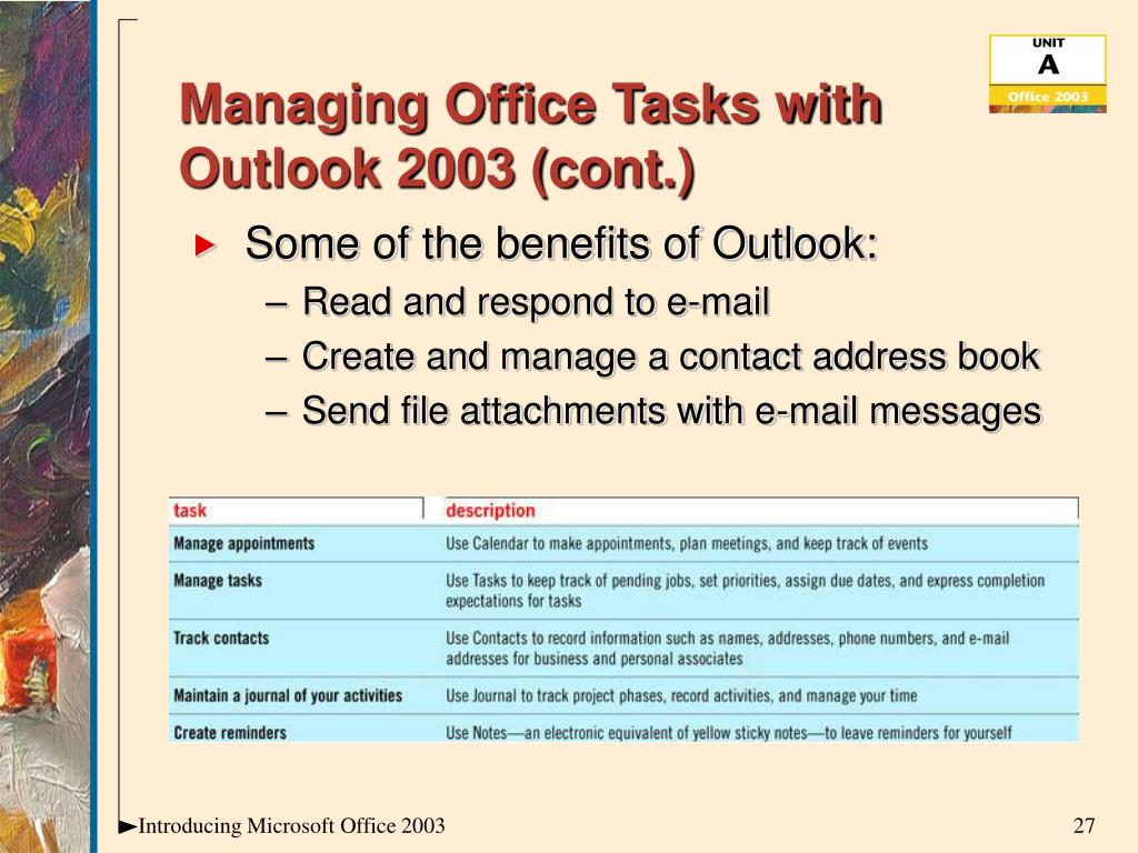 Managing Office Tasks with Outlook 2003 (cont.)
