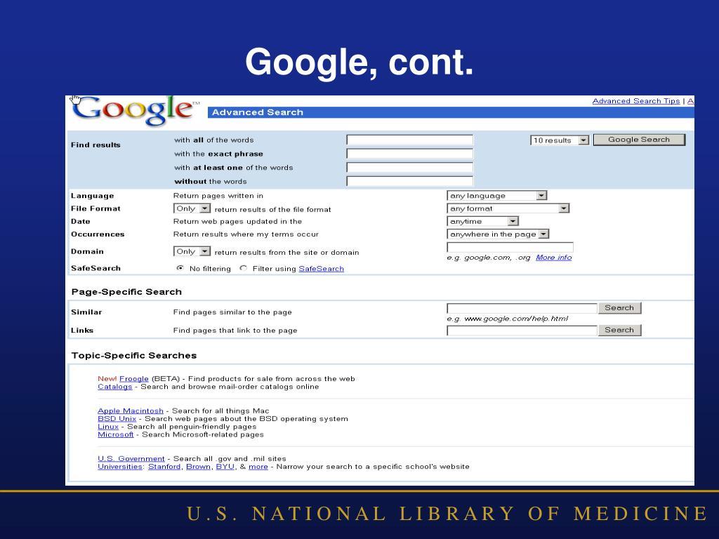 Google, cont.