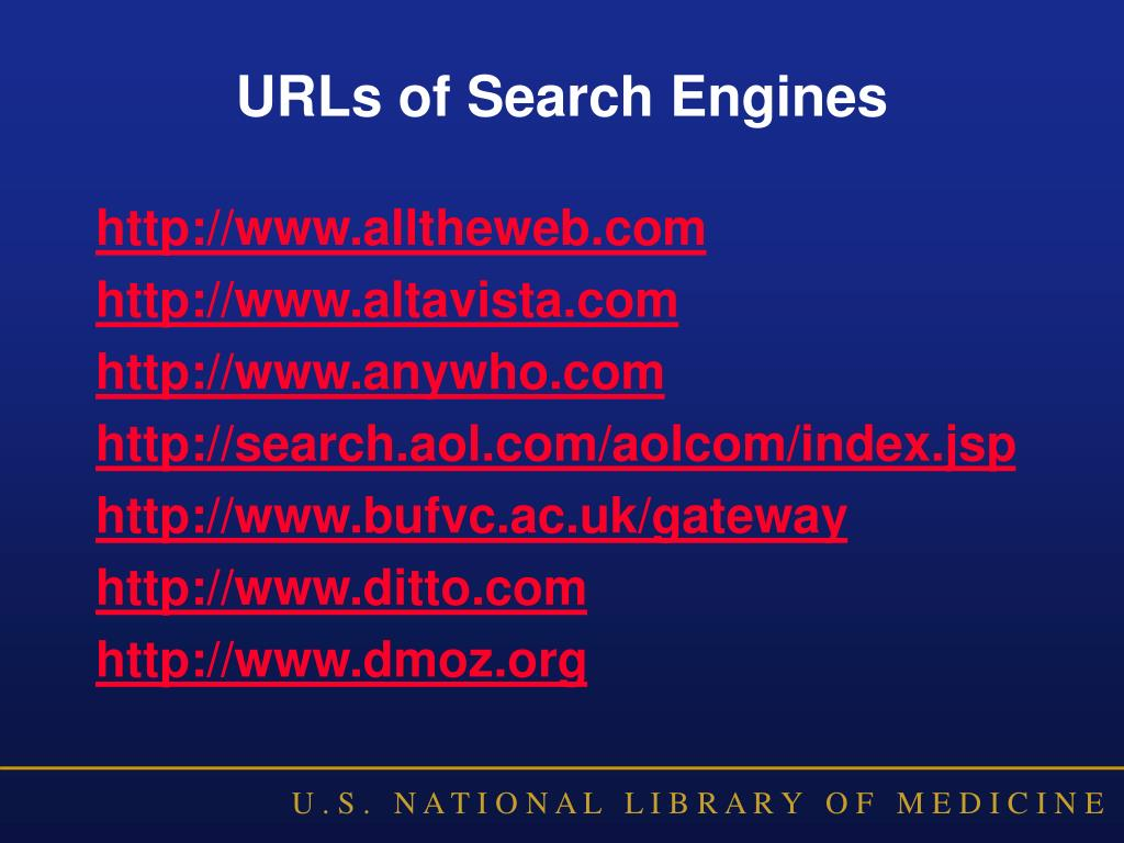 URLs of Search Engines