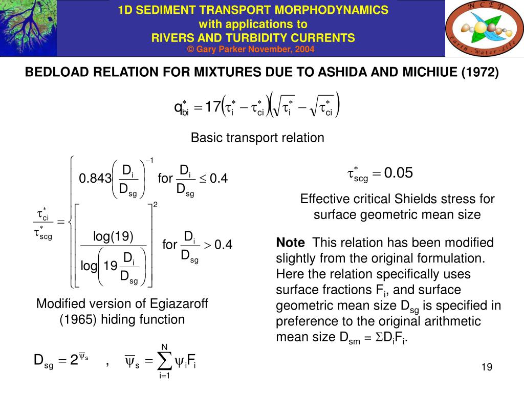 BEDLOAD RELATION FOR MIXTURES DUE TO ASHIDA AND MICHIUE (1972)