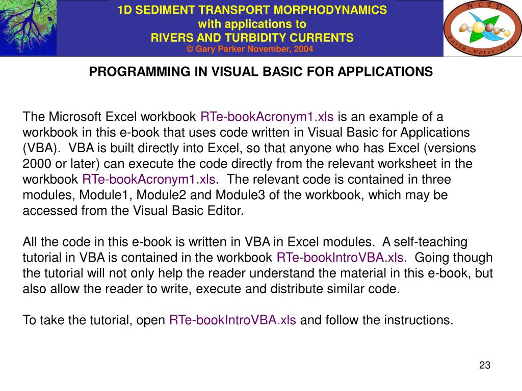 PROGRAMMING IN VISUAL BASIC FOR APPLICATIONS