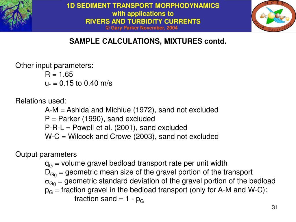 SAMPLE CALCULATIONS, MIXTURES contd.