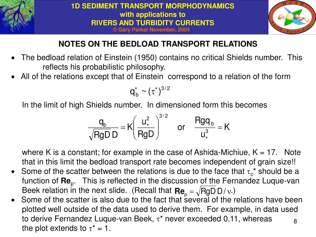 NOTES ON THE BEDLOAD TRANSPORT RELATIONS