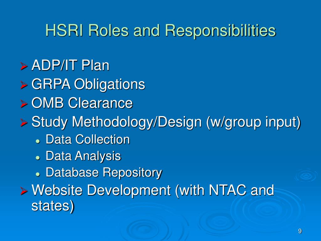 HSRI Roles and Responsibilities