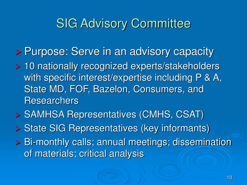 SIG Advisory Committee