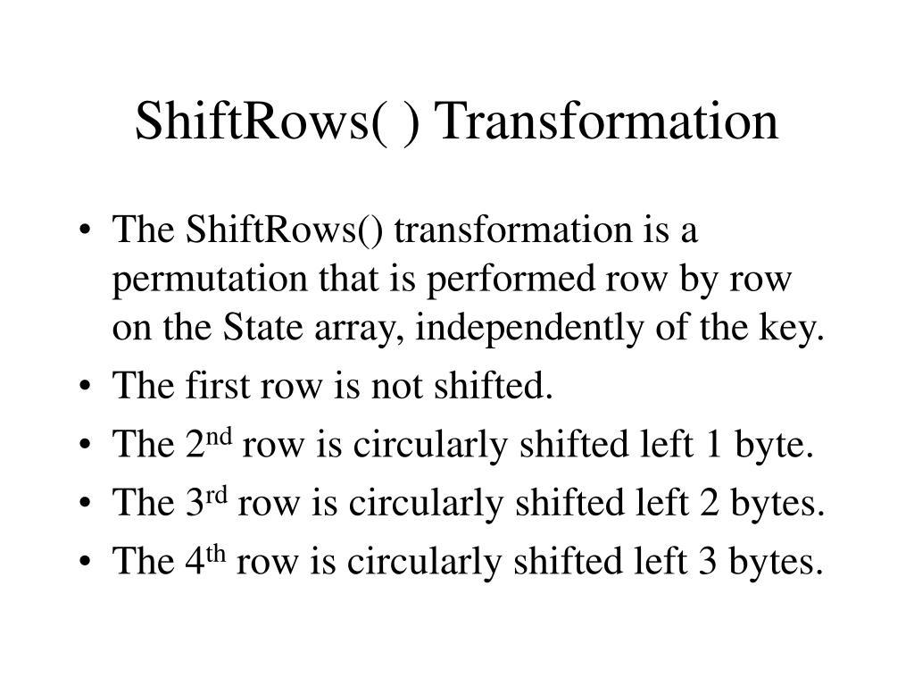 ShiftRows( ) Transformation