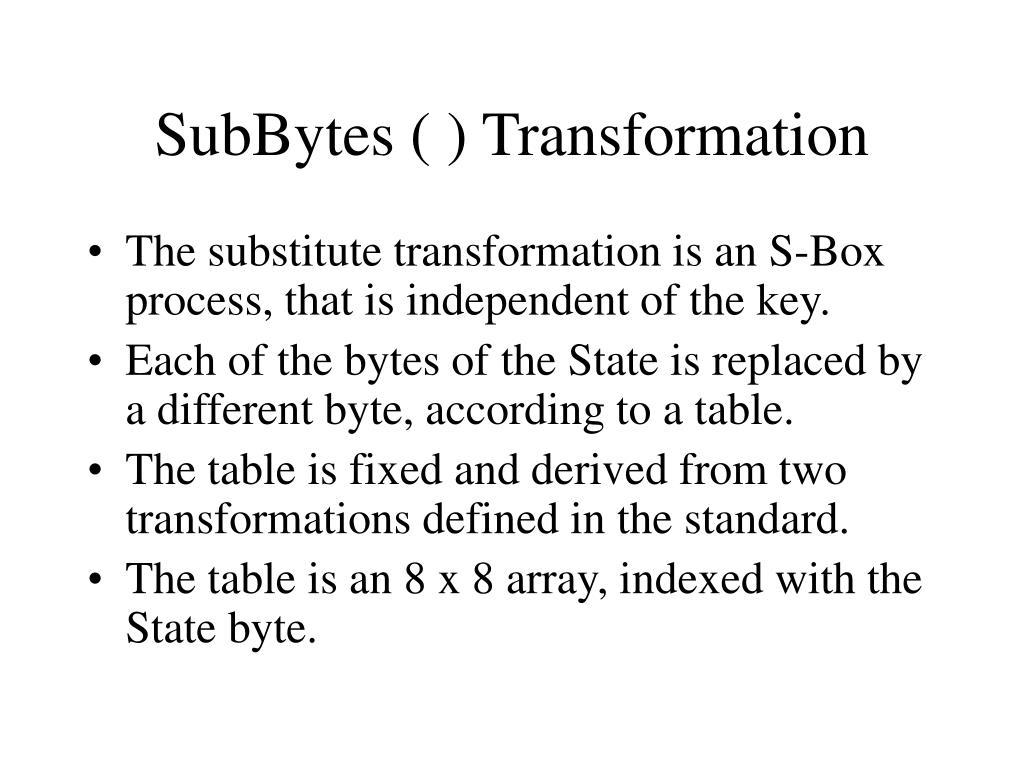 SubBytes ( ) Transformation