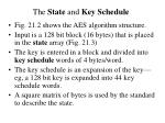 the state and key schedule