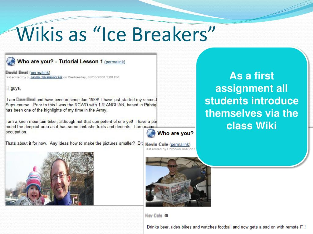 "Wikis as ""Ice Breakers"""