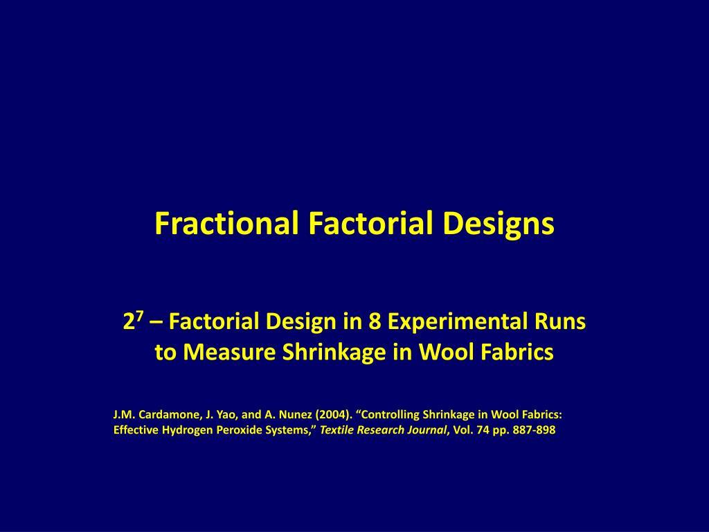 fractional factorial designs