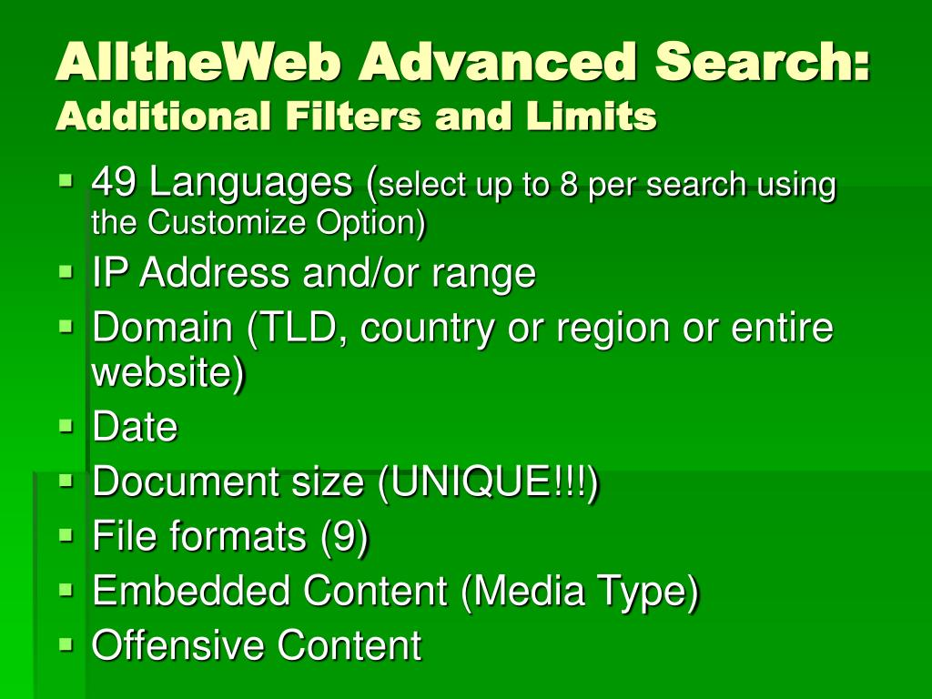 AlltheWeb Advanced Search: