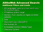 alltheweb advanced search additional filters and limits