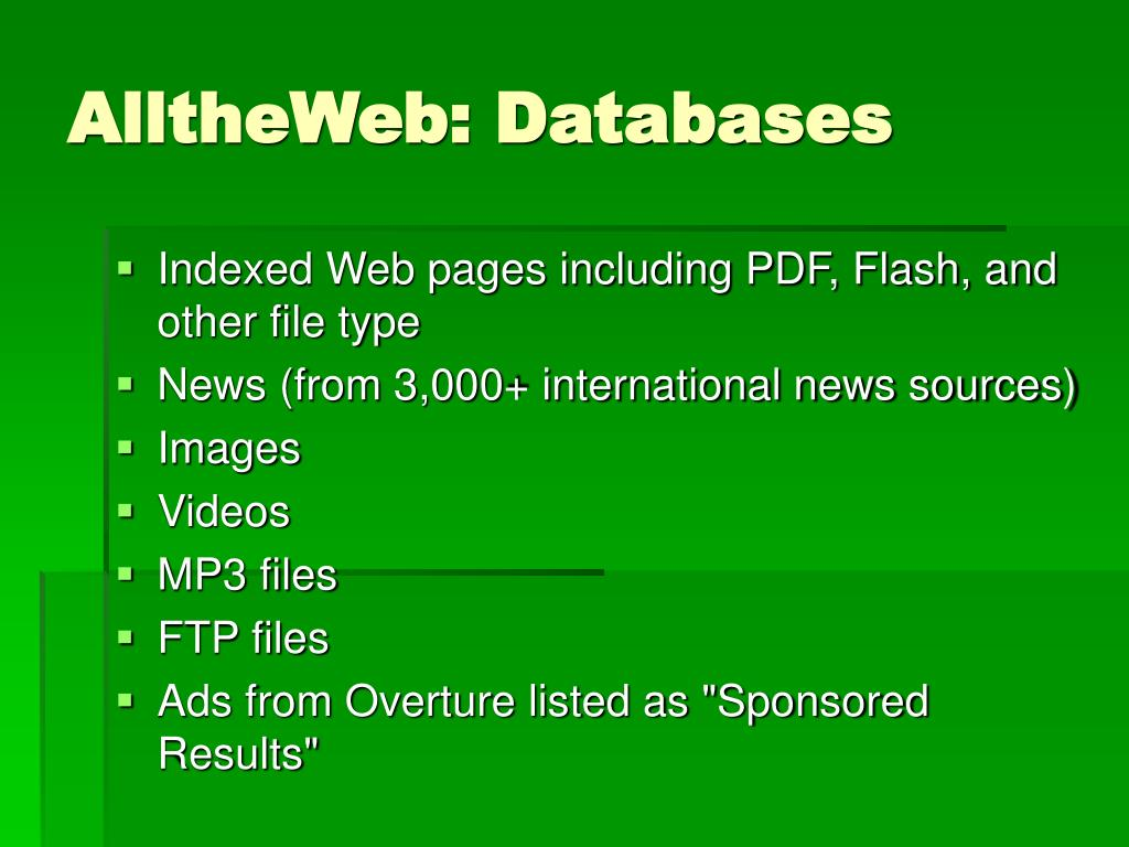 AlltheWeb: Databases