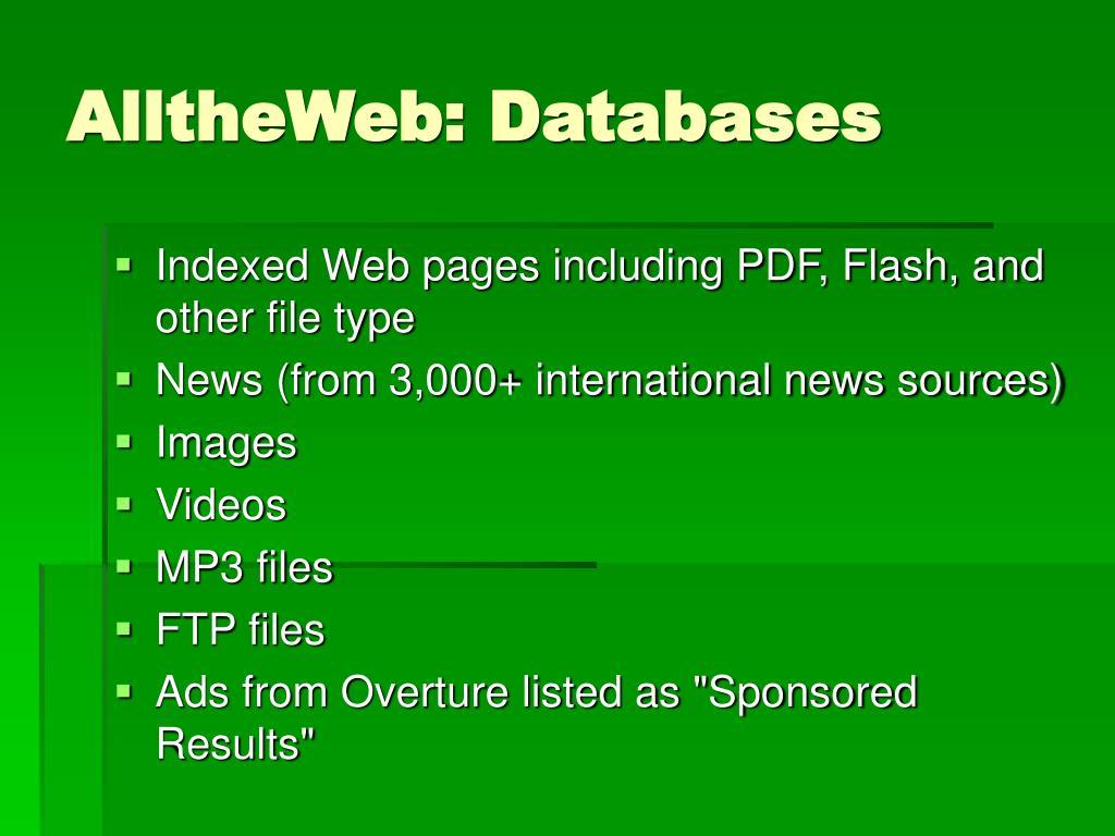 AlltheWeb: Databases