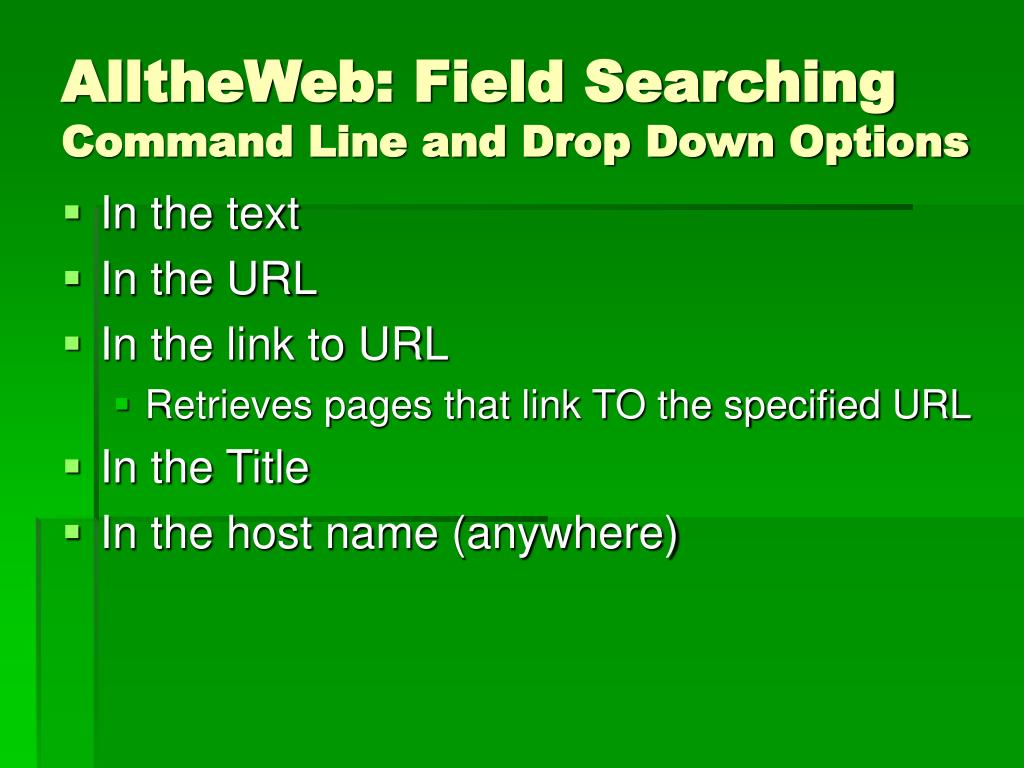 AlltheWeb: Field Searching