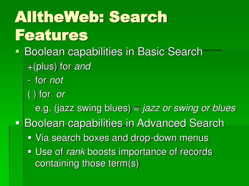AlltheWeb: Search Features
