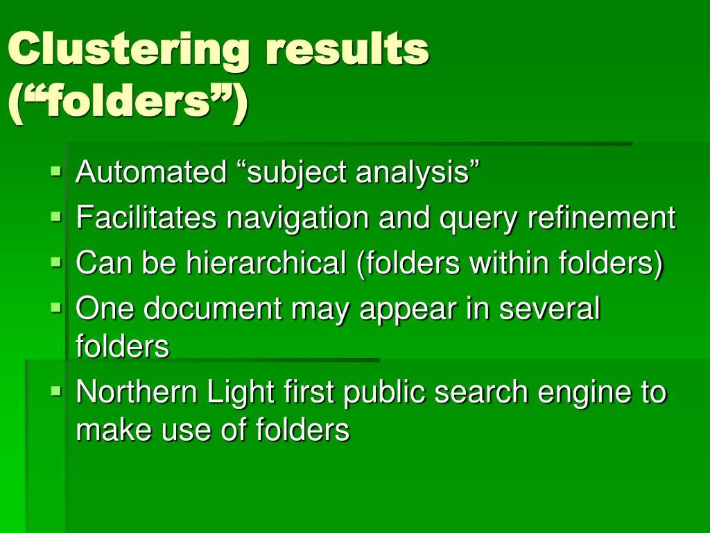"Clustering results  (""folders"")"