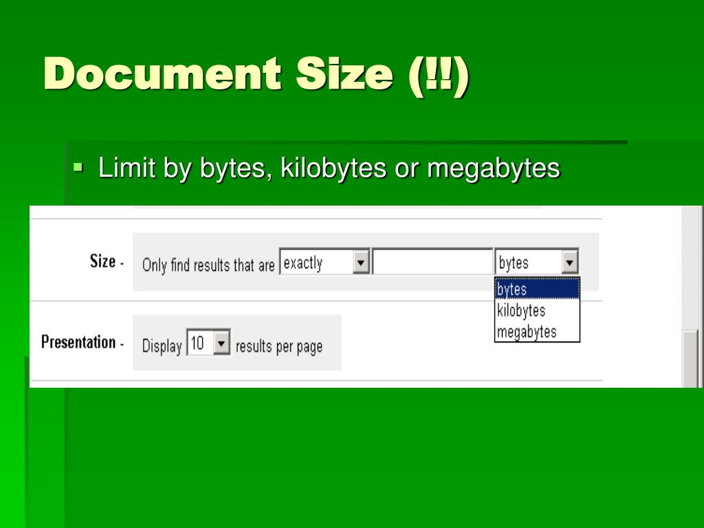 Document Size (!!)