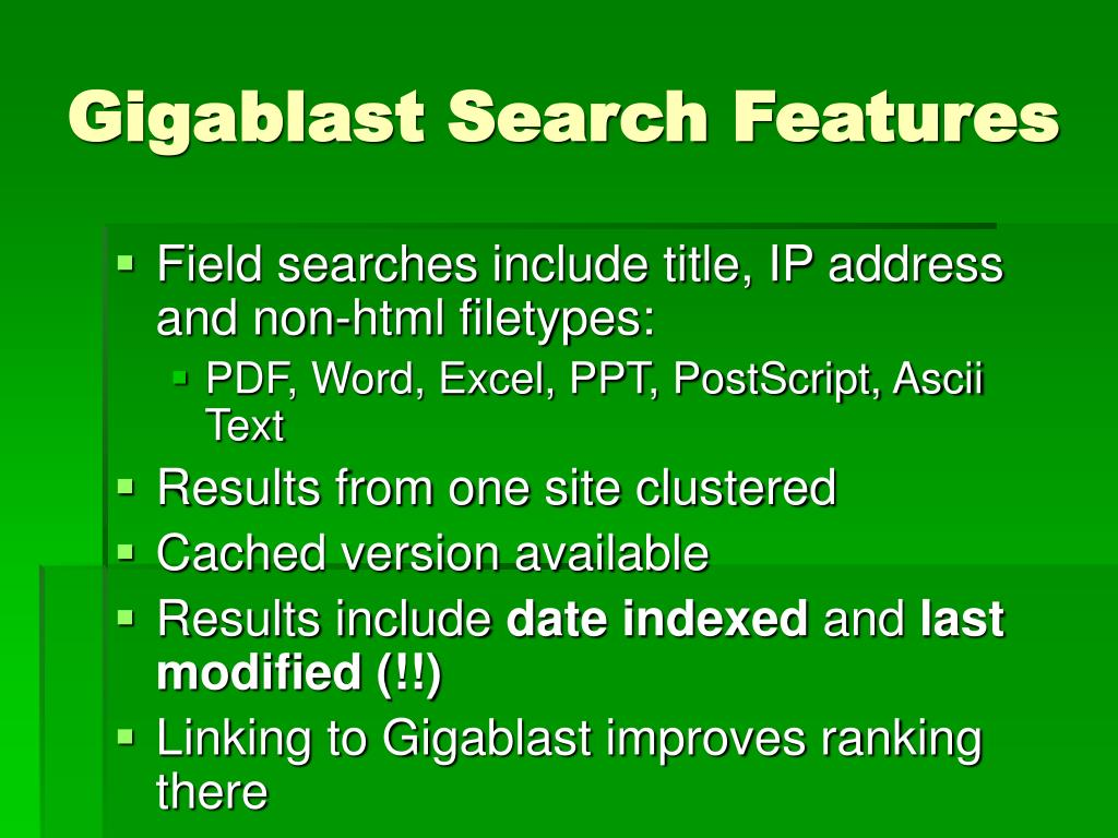 Gigablast Search Features