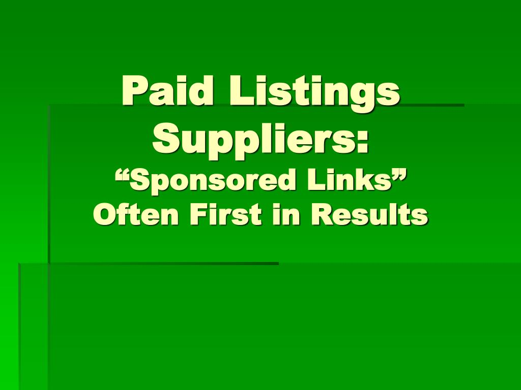 Paid Listings Suppliers: