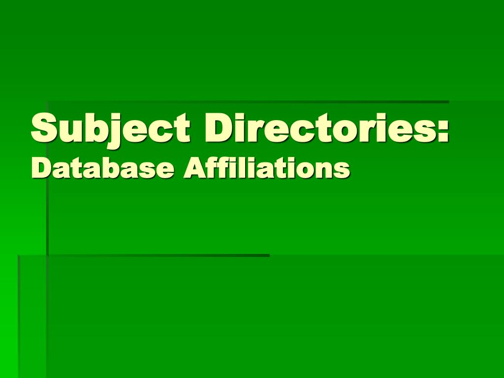Subject Directories: