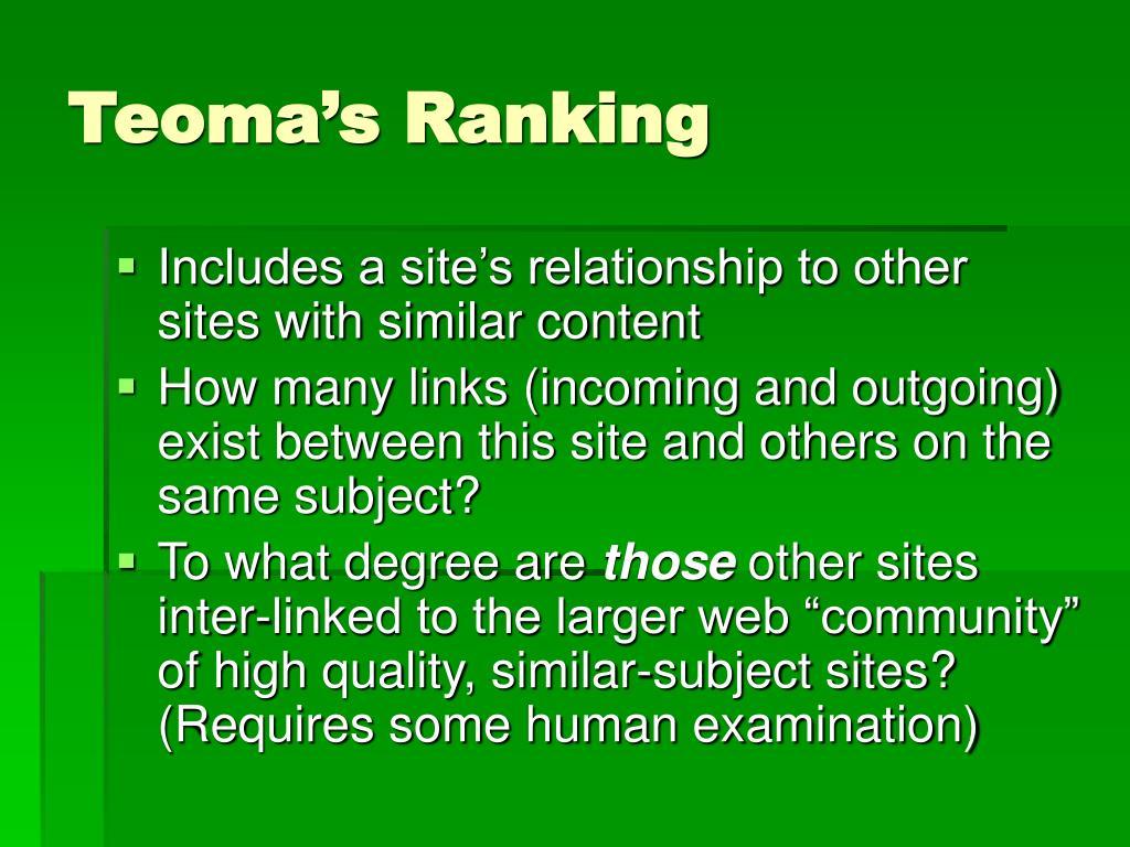 Teoma's Ranking