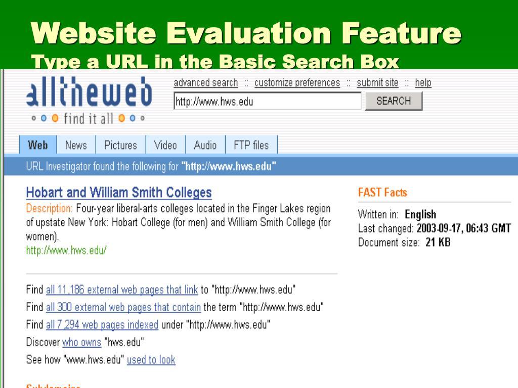 Website Evaluation Feature