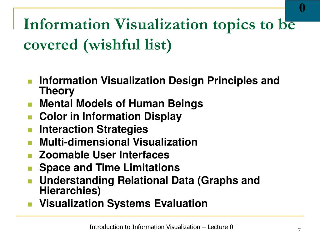 Information Visualization topics to be covered (wishful list)