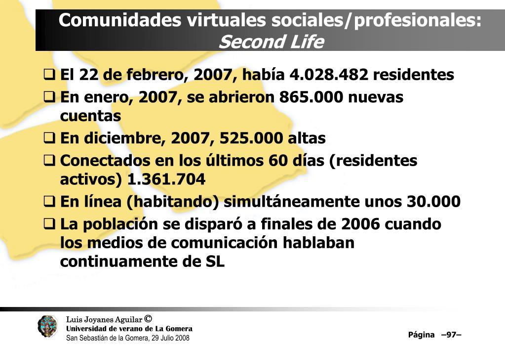 Comunidades virtuales sociales/profesionales: