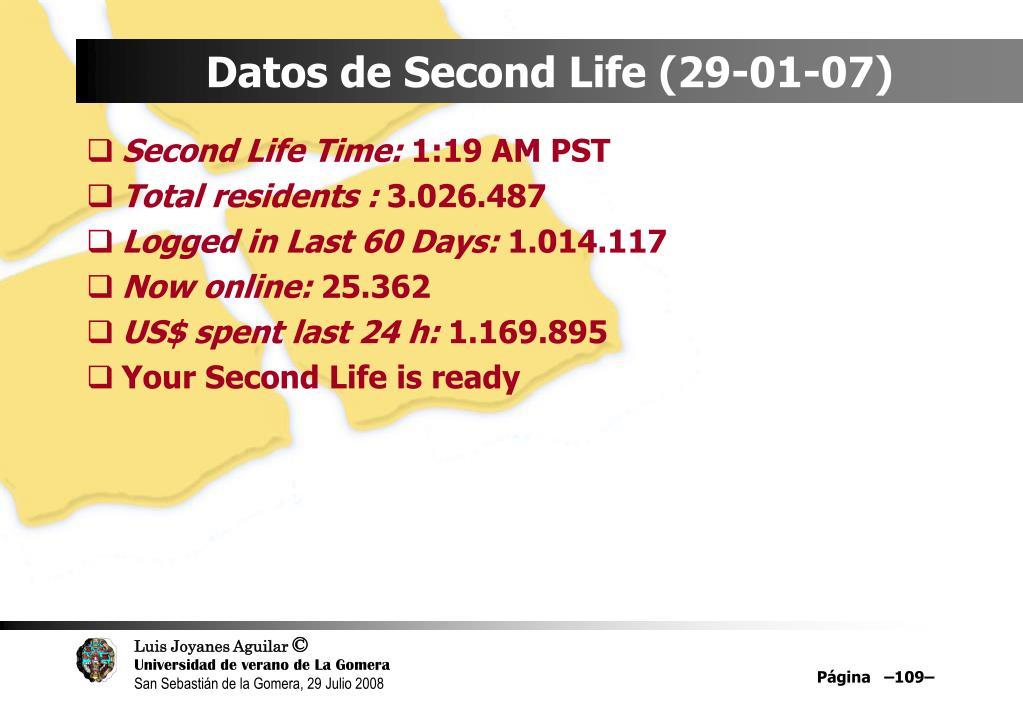 Datos de Second Life (29-01-07)