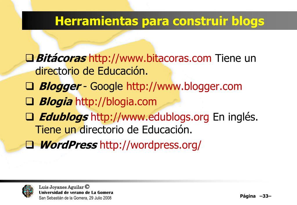 Herramientas para construir blogs