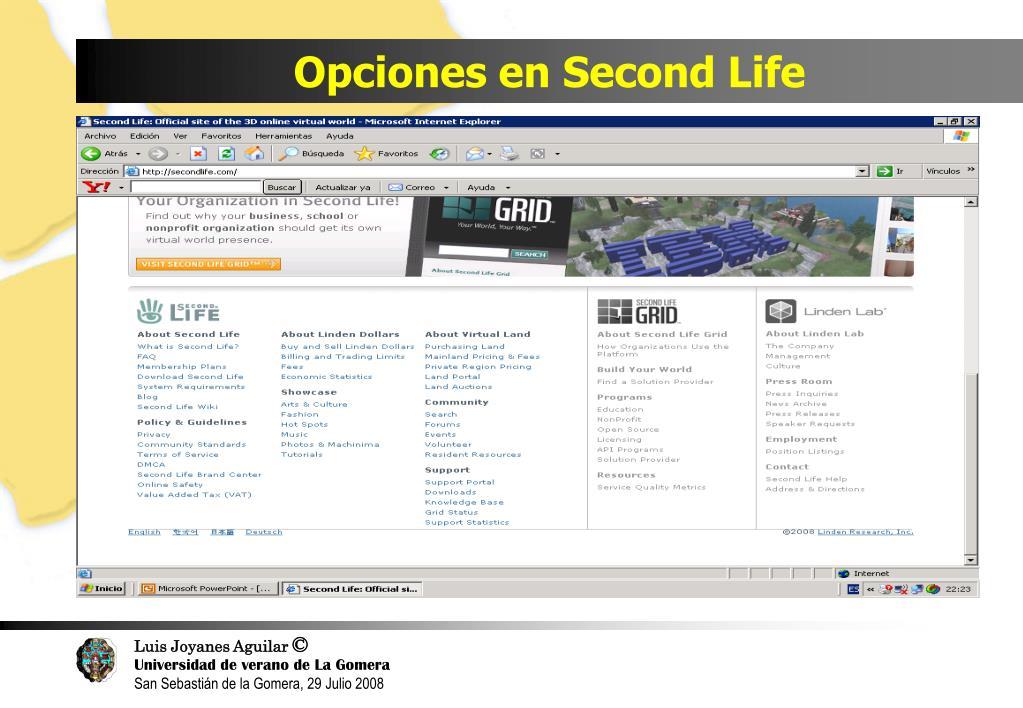 Opciones en Second Life