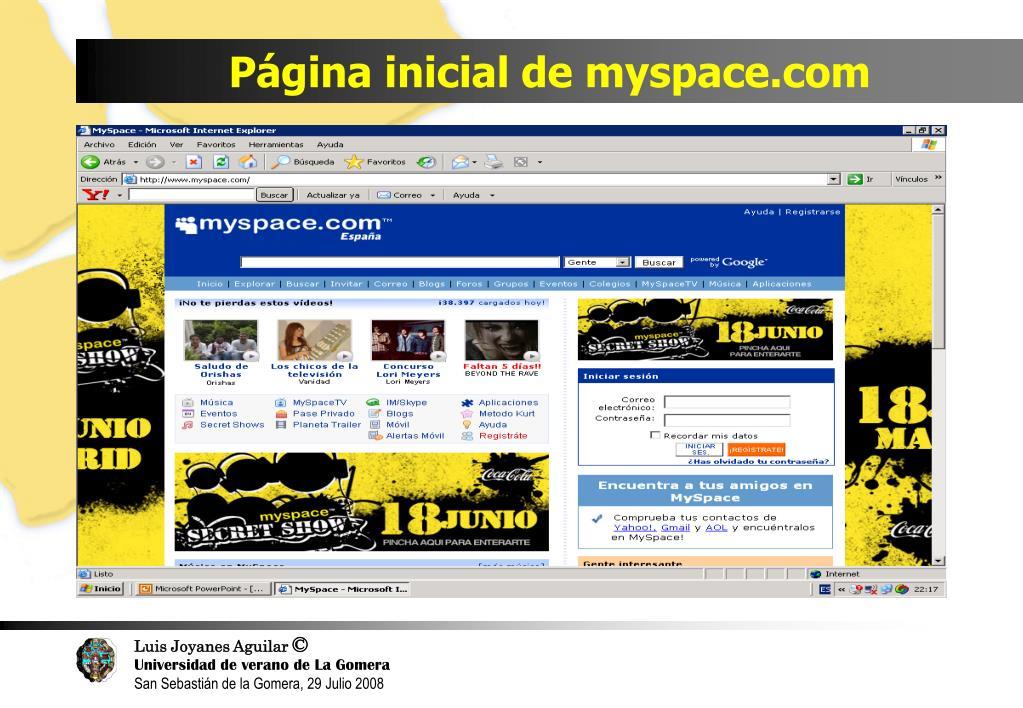 Página inicial de myspace.com