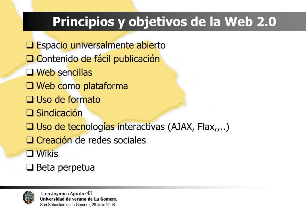Principios y objetivos de la Web 2.0