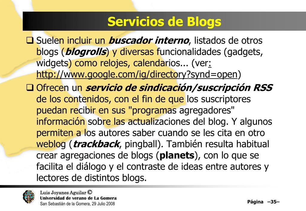 Servicios de Blogs