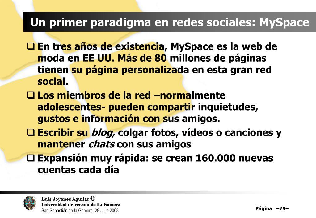 Un primer paradigma en redes sociales: MySpace