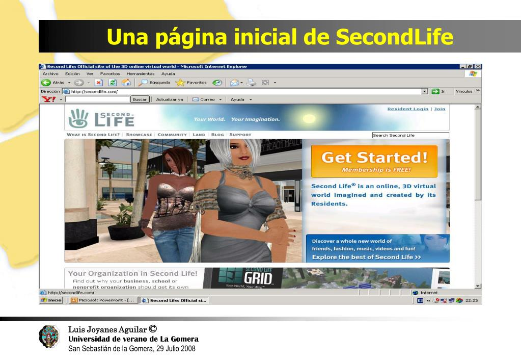 Una página inicial de SecondLife