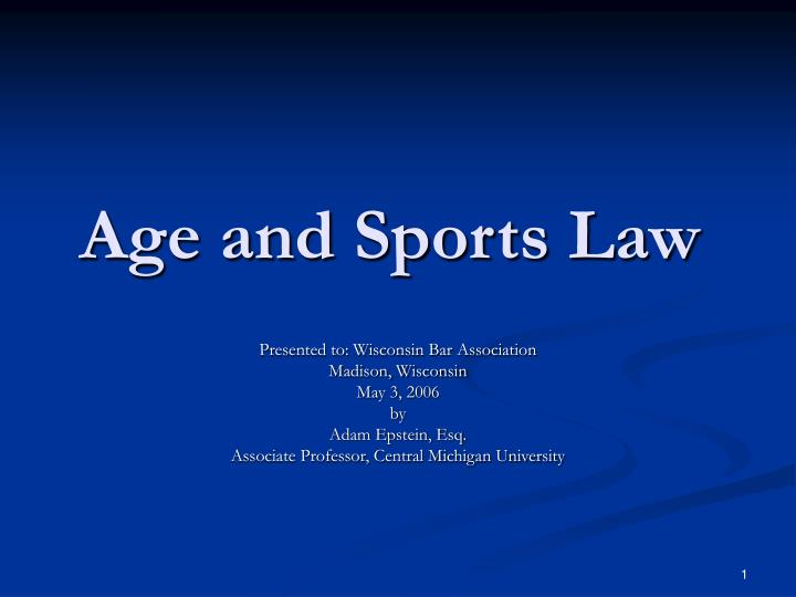 Age and sports law