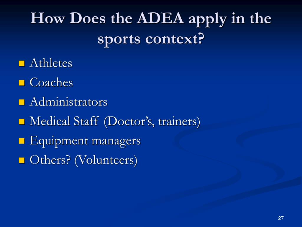 How Does the ADEA apply in the sports context?