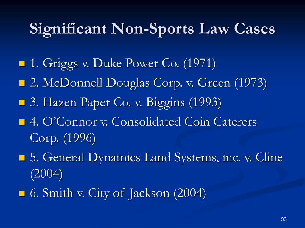 Significant Non-Sports Law Cases
