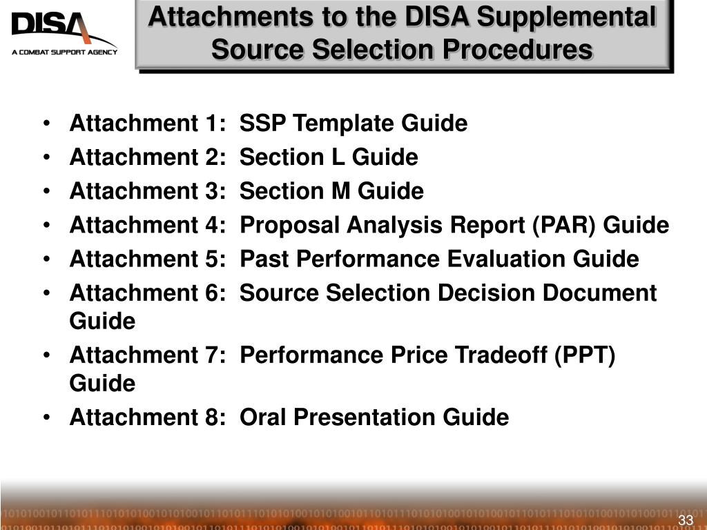 Attachments to the DISA Supplemental Source Selection Procedures