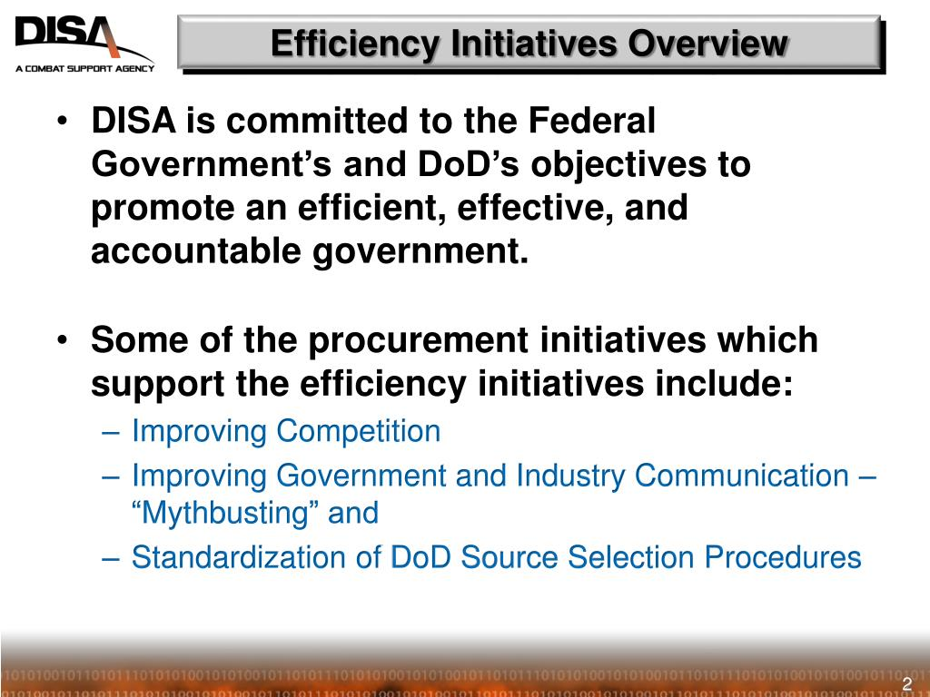 Efficiency Initiatives Overview