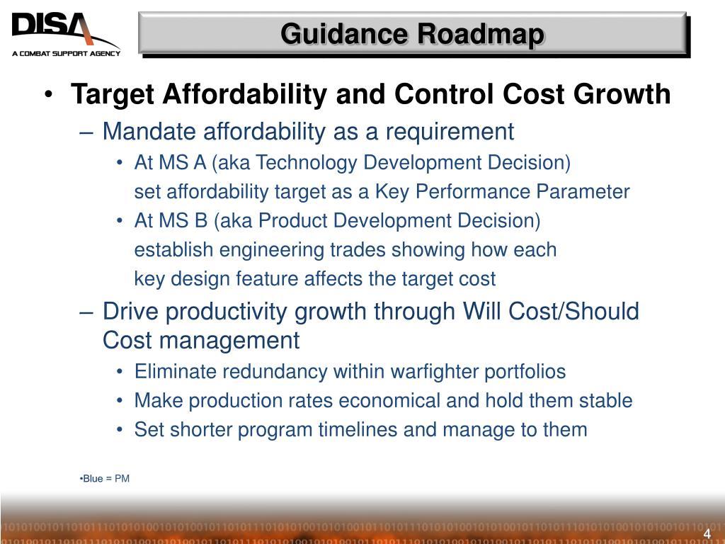 Guidance Roadmap